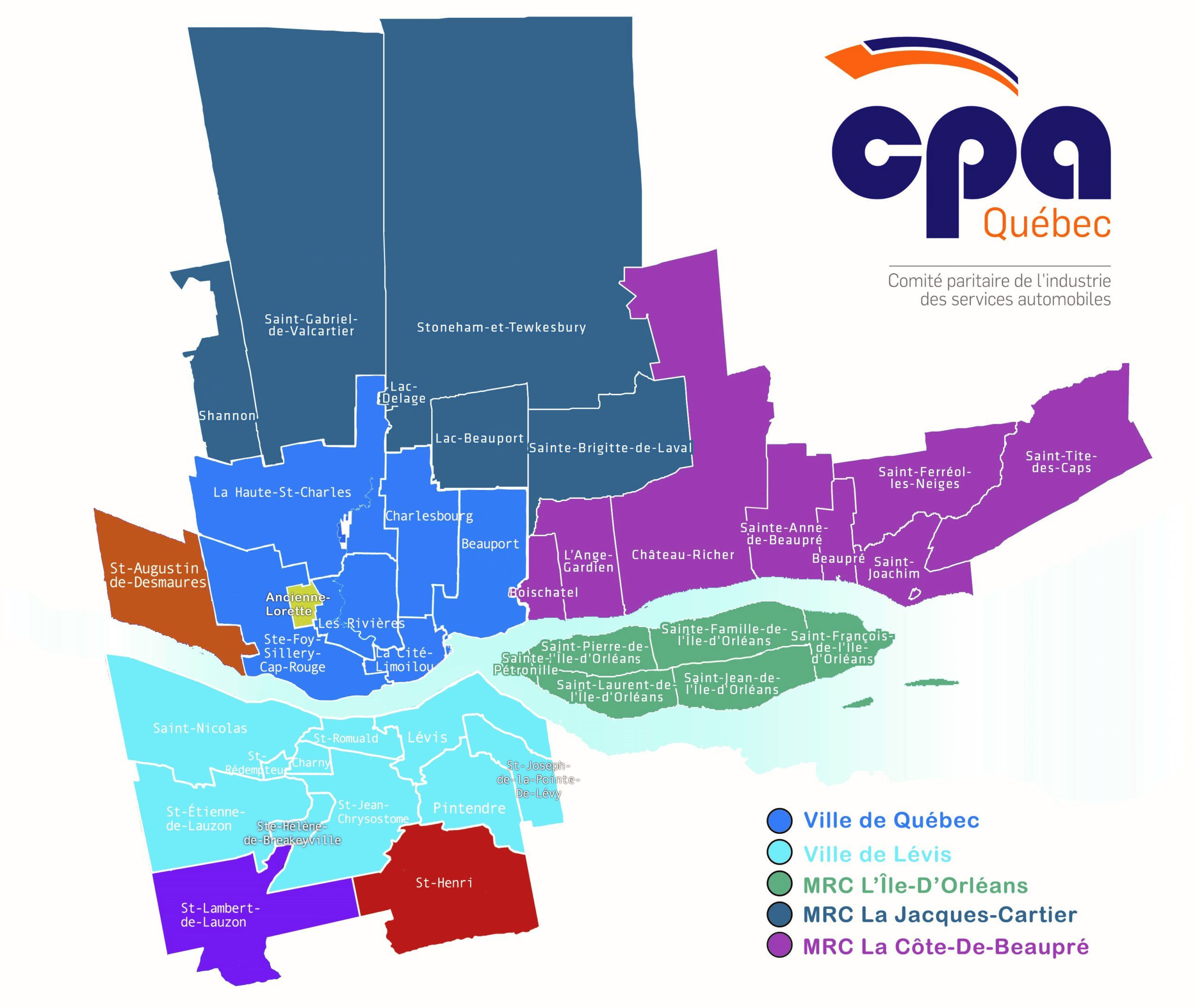 Carte du territoire du CPA Qébec